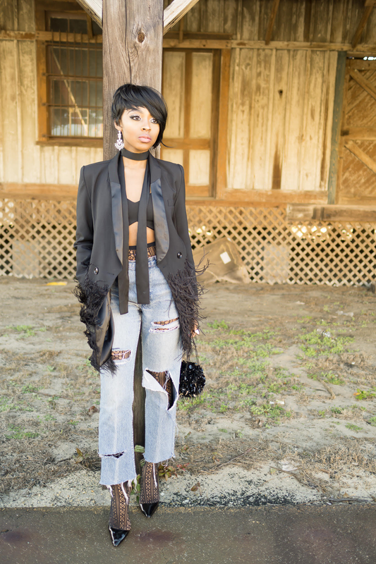How to style , blazer with feathers